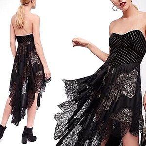 FREE PEOPLE Dark Fairy Velvet + Lace Midi Dress